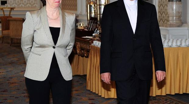 Iran's chief nuclear negotiator Saeed Jalili and EU foreign policy chief Baroness Ashton (AP)