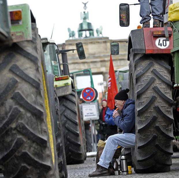 Thousand of Germans have demonstrated against their nation's farming policies (AP)