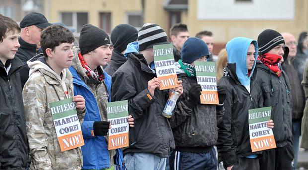 Republicans hold - Release Martin Corey Campaign - parade in Lurgan. January 2011