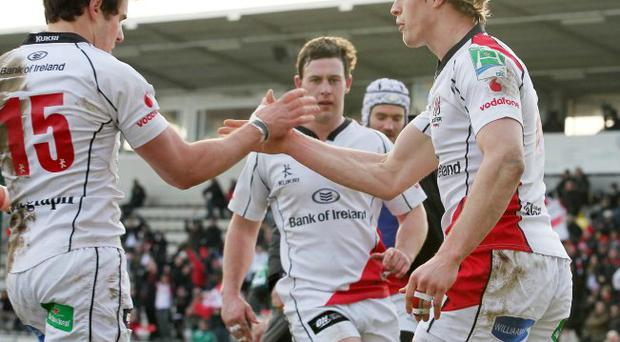 Ulster's Andrew Trimble celebrates with Adam D'Arcy