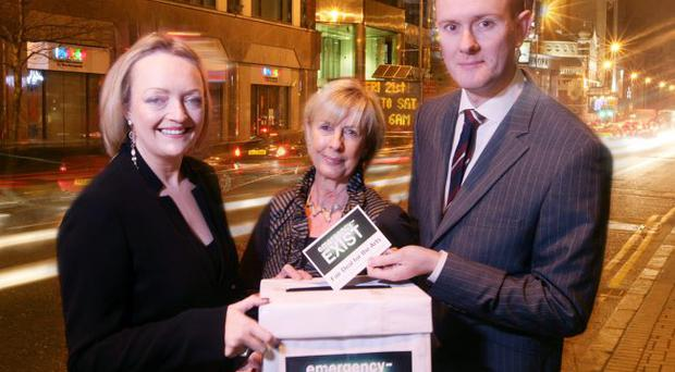 Mary Trainor-Nagele (left), director, Arts & Business, Rosemary Kelly OBE, chairman of the Arts Council of Northern Ireland, and Alan Stewart, the group marketing manager, Patton Group, gather support to urge the Executive to reconsider the £4.2m cut to the arts budget