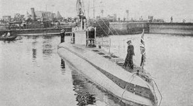 A German UC-type sub – seen here after being captured by the British Navy – similar to the one found wrecked in Cork Harbour