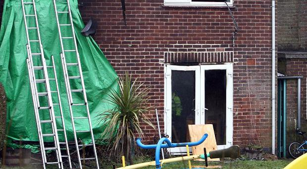 The scene in Hulland Ward, near Ashbourne, Derbyshire, where four young children died in a house fire