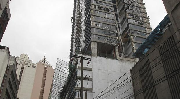 The building where 10 construction workers died after falling 25 floors (AP)
