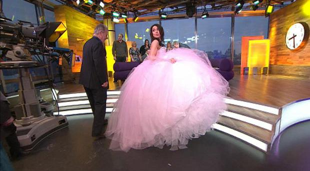 Daybreak presenter Christine Bleakley wearing one of the dresses featured in the documentary My Big Fat Gypsy Wedding