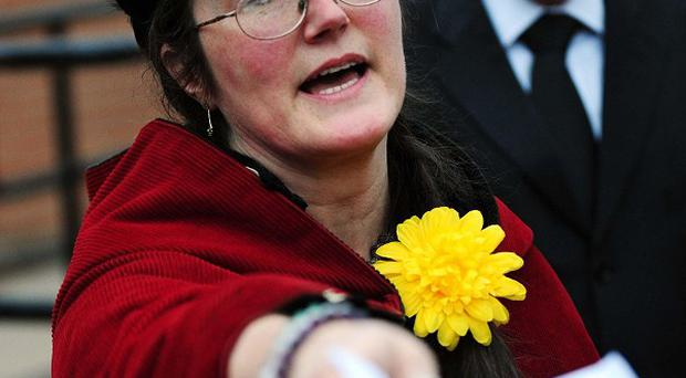 Sharon McCann, wife of Paul Anthony Allen who died during a jousting re-enactment, outside Kettering Magistrates' Court