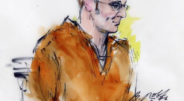 An artist sketch of Jared Lee Loughner during a court appearance in Phoenix, Arizona (AP)