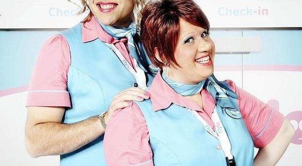 David Walliams as Melody and Matt Lucas as Keeley in Come Fly With Me