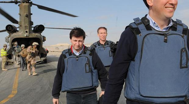 Labour leader Ed Miliband arrives at Camp Bastion in Helmand province