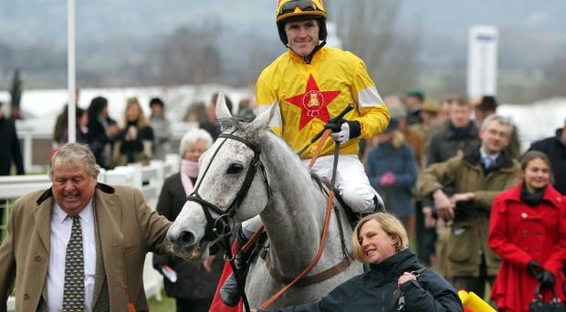 Tony McCoy in the winners enclosure after victory on Neptune Collonges in the Argento Chase at Saturday's Festival Trials Day at Cheltenham.