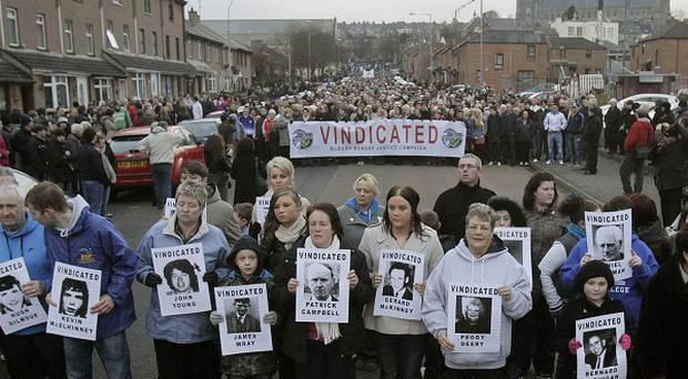 People gather for the 39th anniversary of Bloody Sunday in the Bogside area of Londonderry for what is expected to be the last commemorative march
