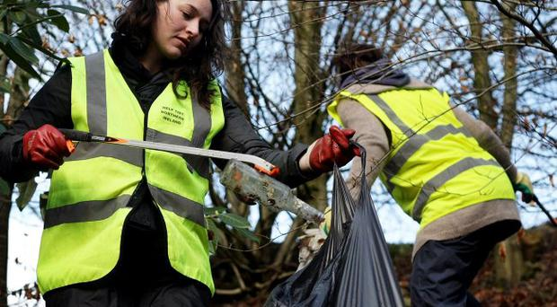 Right: Patricia Magee and Mariene Gattineau from Tidy NI clean up at Cookstown's Ballinderry River