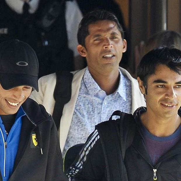 Pakistan cricketers (from left) Mohammad Aamer, Mohammad Asif and Salman Butt