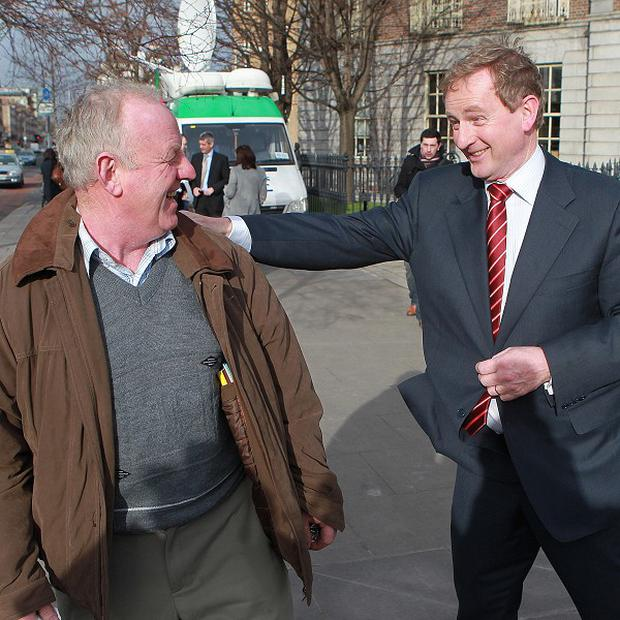 Fine Gael leader Enda Kenny (right) launches the party's election campaign in Dublin