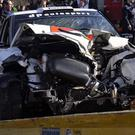 The wrecked car of Formula One driver Robert Kubica.