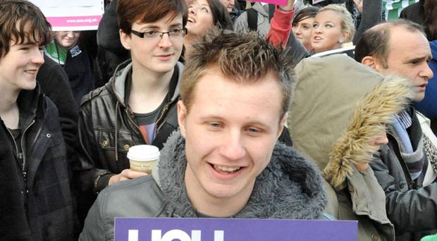 Students and staff unite in protest against proposed cuts