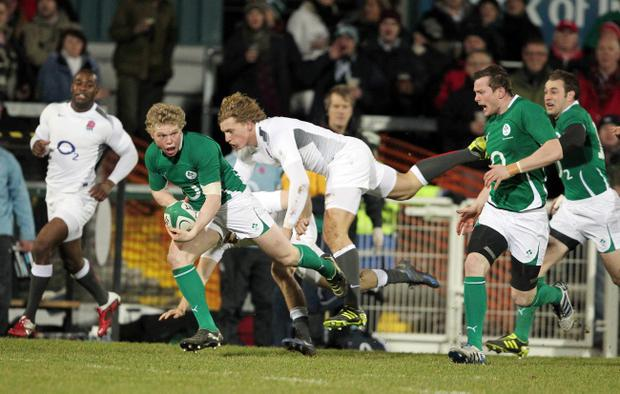 Nevin Spence, pictured competing for the Wolfhounds, is getting a taste of the senior international stage