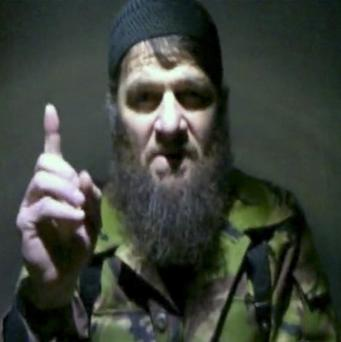 Insurgent leader Doku Umarov speaks in a video message (AP)