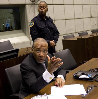 Former Liberian president Charles Taylor at the Special Court for Sierra Leone (AP)
