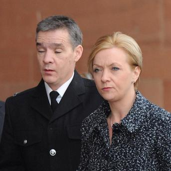 PC David Rathband, pictured with wife Katherine, said he 'played dead' after being shot by Raoul Moat