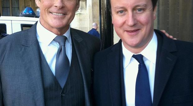David Hasselhoff meets PM David Cameron before speaking at the Oxford Union