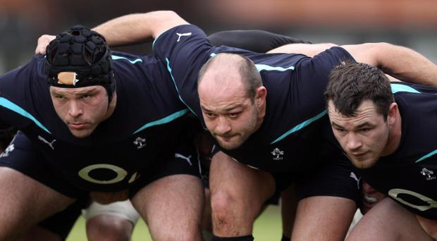 Mike Ross, Rory Best and Cian Healy go to work in training yesterday ahead of the showdown against France on Sunday