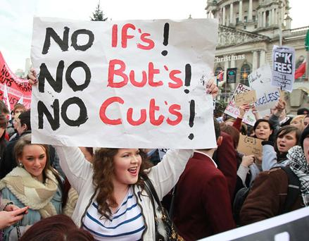 Belfast students protest against tuition fees hike