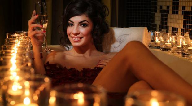 Model Gemma McCorry getting in the mood for Valentines weekend by relaxing in the luxurious and stylish surroundings of the Fitzwilliam Hotel in Belfast