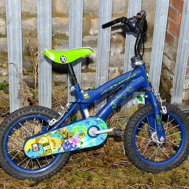 A child's bike which was used to hide a bomb in Northern Ireland, police said