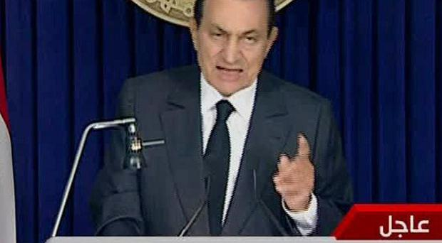 Egyptian president Hosni Mubarak makes a televised statement to the nation (AP)
