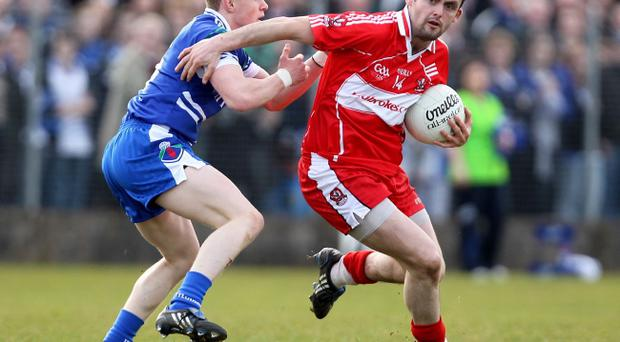 Derry's Eoin Bradley (right) is available for selection following his 24-week ban