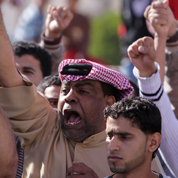 Demonstrators in Bahrain during an anti-government protest (AP)