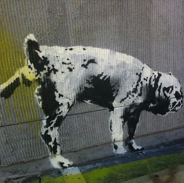 An artwork on a Los Angeles wall reputed to be done by the British graffiti artist Banksy