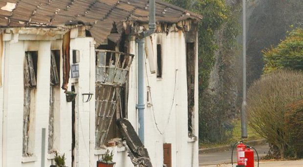 The fire damaged gymnasium building at HMP Ford near Arundel, West Sussex
