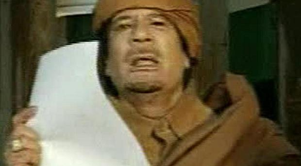 Muammar Gaddafi in a state broadcast, where he vowed to fight 'to my last drop of blood'