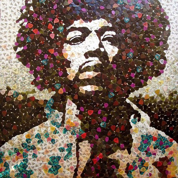 A mosaic of guitar legend Jimi Hendrix by artist Ed Chapman