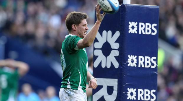 Ireland's Ronan O'Gara celebrates his try