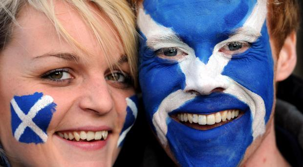 Scotland fans Anstead 23 and Liam Tracey 20 before the RBS 6 Nations match at Murrayfield, Edinburgh