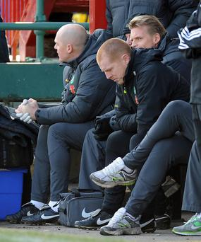 Celtic Manager Neil Lennon during the Clydesdale Bank Scottish Premier League match at Fir Park, Motherwell
