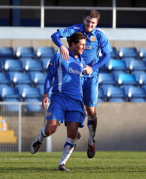 Glenavon's Willo McDonagh celebrates scoring against Linfield during Saturday's Carling Premiership game at Mourneview Park