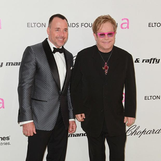 David Furnish and Sir Elton John hosted the post-Oscars party