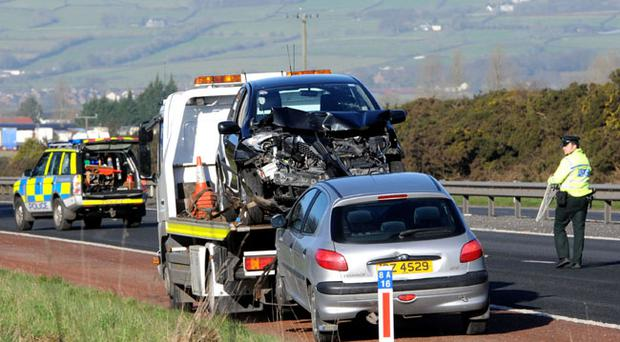 Two cars are towed away after the accidents on the motorway