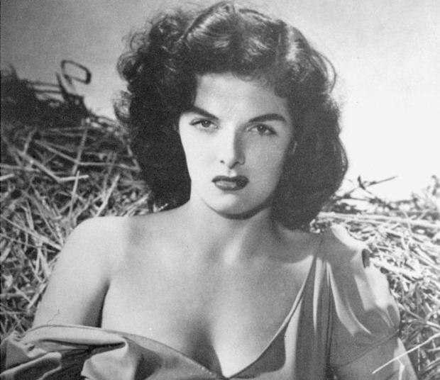 Jane Russell is shown in a scene from the movie The Outlaw .