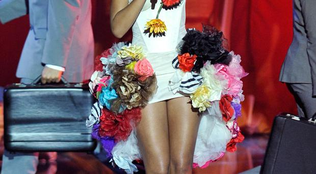 Rihanna performs during the MTV Europe Music Awards 2010 in Madrid, Spain