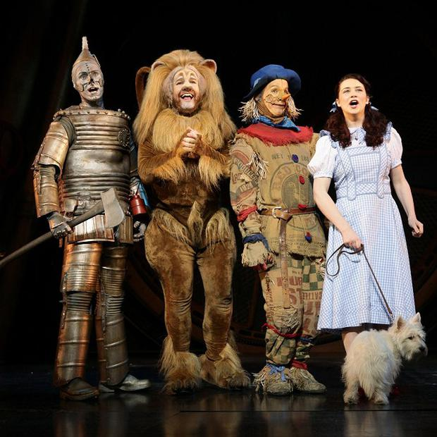 Edward Baker-Duly, David Ganly, Paul Keating and Danielle Hope star in the Wizard of Oz at the London Palladium