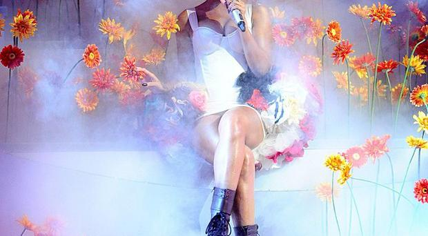 Rihanna performs on stage during the 2010 MTV Europe Music Awards in Madrid