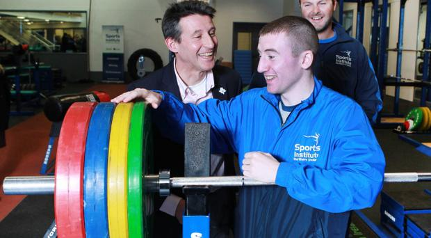 Lord Seb Coe has a laugh with Paddy Barnes at SINI yesterday as they looked ahead to the Olympics