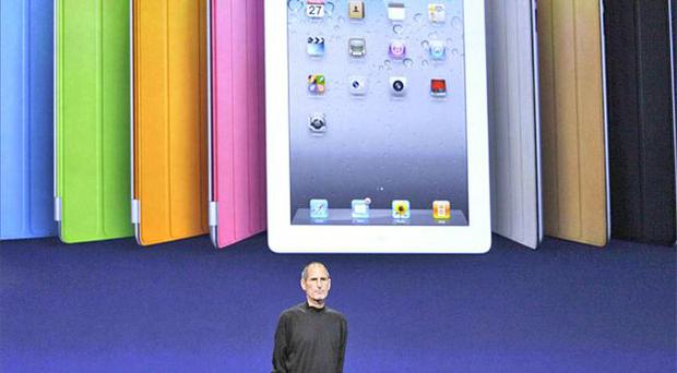 Steve Jobs on stage in San Francisco to launch iPad 2