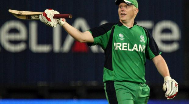 Ireland's Kevin O'Brien celebrates his century against England
