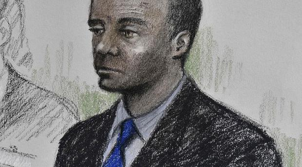 Court artist impression of former minicab driver Delroy Grant who is on trial at the Old Bailey